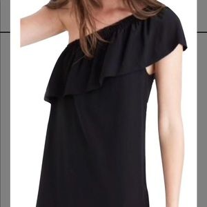 Madewell One shoulder silk dress with ruffle